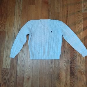 🎃Ralph Lauren Vintage white cotton v-neck sweater